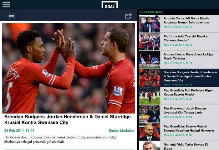 Goal Com Sajikan Berita Bola Di Handphone Anda Review