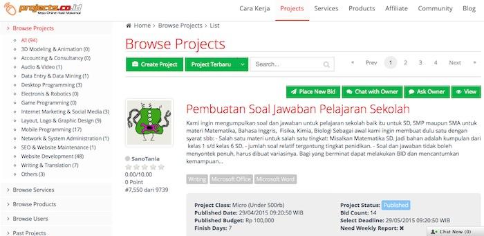 projects kumpulan marketplace freelancer